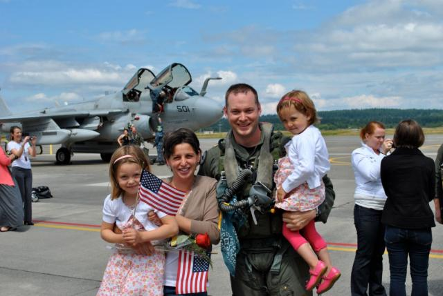 Family on Air force runway