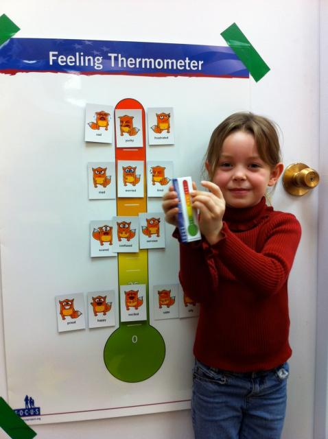 Child using feeling thermometer
